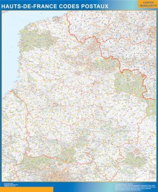 Región Hauts de France codigos postales enmarcado plastificado