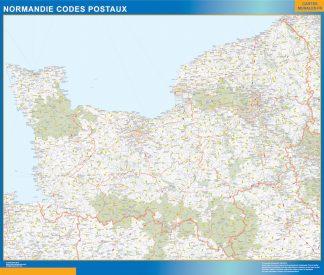 Región Normandie codigos postales enmarcado plastificado